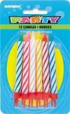 Multi Birthday Cake Candles 12 Pack